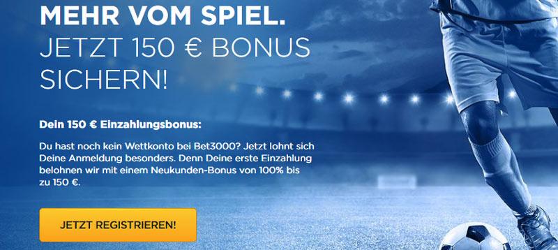 Bet3000 150€ Bonus