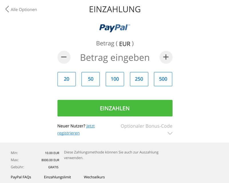 Sportingbet Einzahlung PayPal
