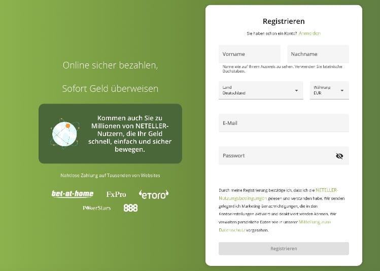 Neteller Registrierung