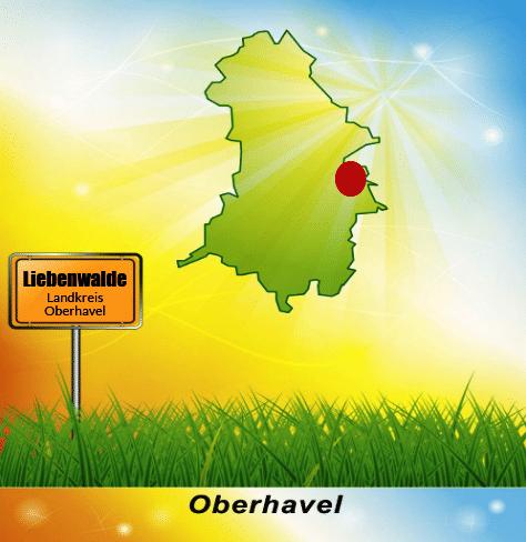Lage der Stadt Liebenwalde im Landkreis Oberhavel