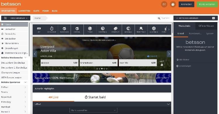 Betsson Sportwetten Webseite