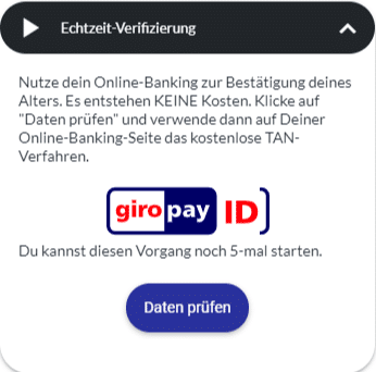 Verifizierung durch Onlinebanking