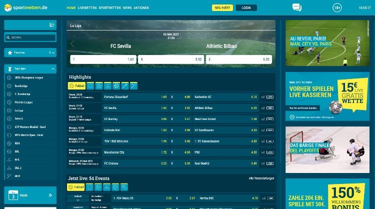 Sportwetten.de Webseite